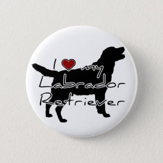 "I ""heart"" my Labrador Retriever"" words with graphi 6 Cm Round Badge"