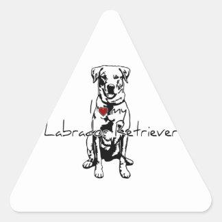 """I """"heart"""" my Labrador Retriever words with graphic Triangle Sticker"""