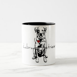 "I ""heart"" my Labrador Retriever words with graphic Two-Tone Coffee Mug"
