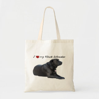 "I ""heart"" my Labrador Retriever"" words with photo Tote Bag"