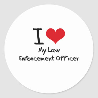 I heart My Law Enforcement Officer Round Stickers