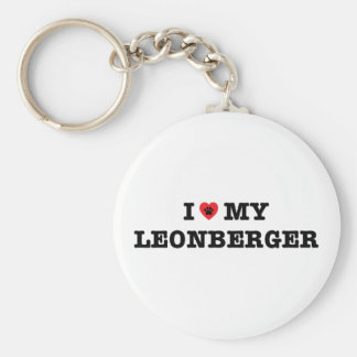 I Heart My Leonberger Button Keychain