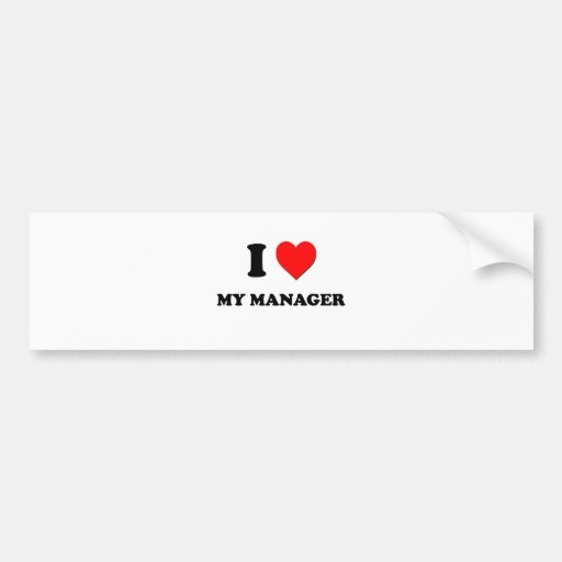I Heart My Manager Bumper Stickers