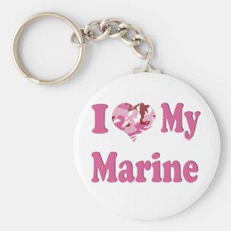 I Heart My Marine Basic Round Button Key Ring