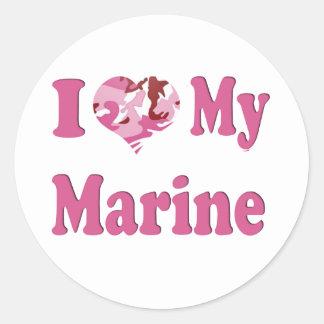 I Heart My Marine Classic Round Sticker