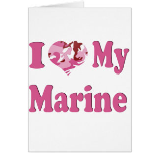 I Heart My Marine Greeting Card