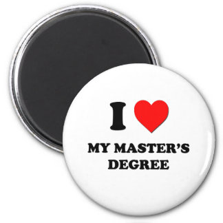 I Heart My Master'S Degree 6 Cm Round Magnet
