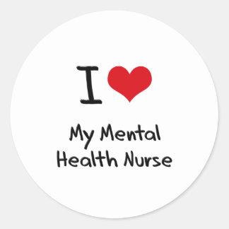 I heart My Mental Health Nurse Round Stickers