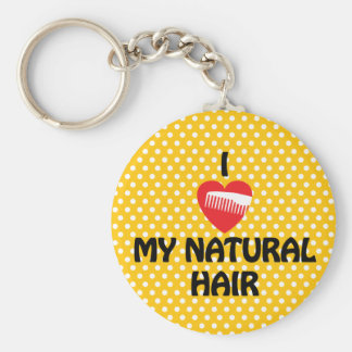 I Heart My Natural Hair Fashion Basic Round Button Key Ring