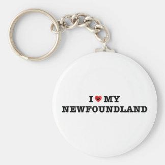 I Heart My Newfoundland Button Keychain