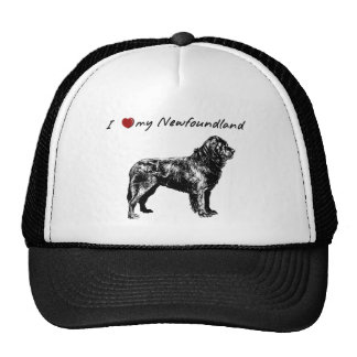 """""""I """"heart"""" my Newfoundland"""" with dog graphic! Mesh Hats"""