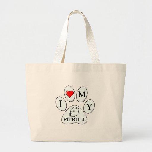 I heart my pit bull paw - dog, pet, best friend tote bag