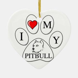 I heart my pit bull paw - dog, pet, best friend christmas tree ornament