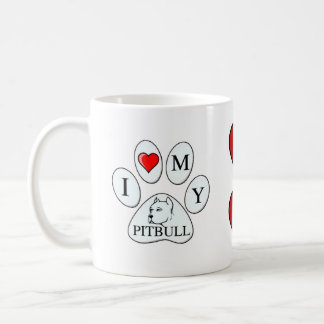 I heart my pit bull paw - dog, pet, best friend classic white coffee mug