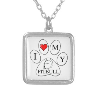 I heart my pit bull paw - dog, pet, best friend square pendant necklace