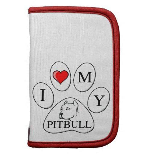 I heart my pit bull paw - dog, pet, best friend folio planners