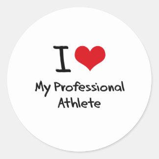 I heart My Professional Athlete Round Sticker