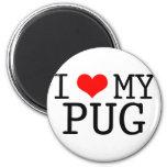 I Heart My Pug Fridge Magnets