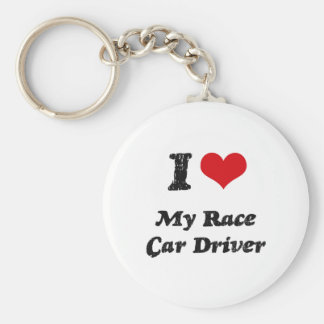 I heart My Race Car Driver Basic Round Button Key Ring