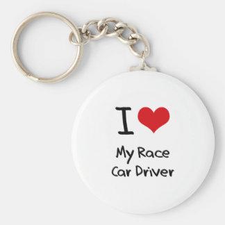 I heart My Race Car Driver Key Chain