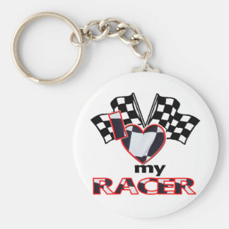 I Heart My Racer Basic Round Button Key Ring