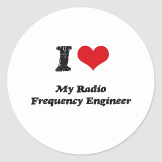 I heart My Radio Frequency Engineer Round Stickers