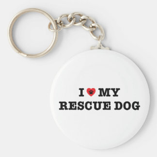 I Heart My Rescue Dog Button Keychain