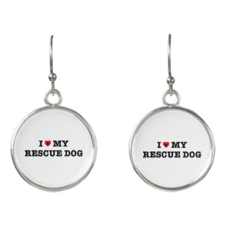 I Heart My Rescue Dog Drop Earrings