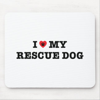 I Heart My Rescue Dog Mouse Pad