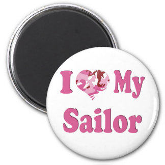 I Heart My Sailor 6 Cm Round Magnet