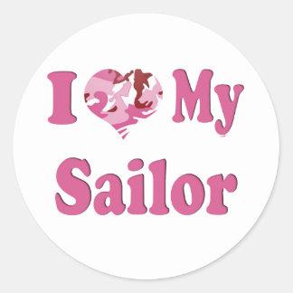 I Heart My Sailor Round Sticker