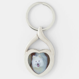 I Heart My Samoyed Keychain Silver-Colored Twisted Heart Key Ring