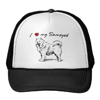 """""""I """"heart"""" my Samoyed"""" with dog graphic, unique! Hats"""