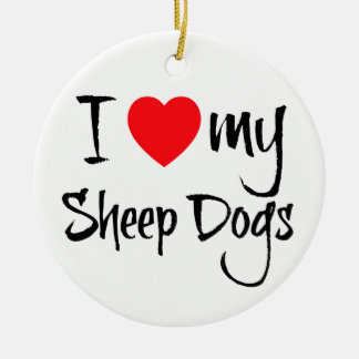 I Heart My Sheep Dogs Christmas Ornament