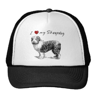 """""""I """"heart"""" my Sheepdog"""" with graphic, sharp! Mesh Hat"""
