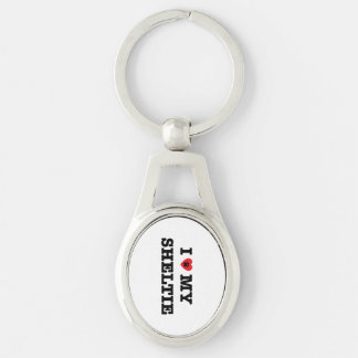 I Heart My Sheltie Metal Keychain Silver-Colored Oval Key Ring