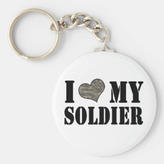 I Heart My Soldier Basic Round Button Key Ring