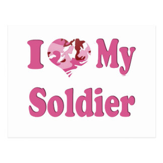 I Heart My Soldier Postcard