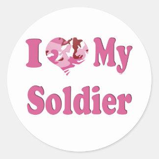 I Heart My Soldier Round Sticker