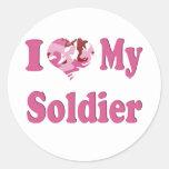 I Heart My Soldier Round Stickers