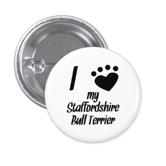 I Heart My Staffordshire Bull Terrier Button