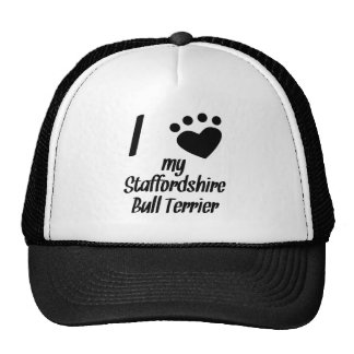 I Heart My Staffordshire Bull Terrier Hat