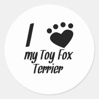 I Heart My Toy Fox Terrier Round Stickers