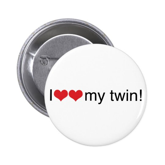 I Heart My Twin 6 Cm Round Badge