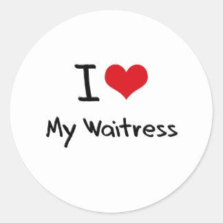 I heart My Waitress Round Sticker
