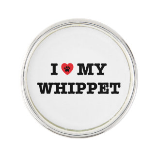 I Heart My Whippet Lapel Pin
