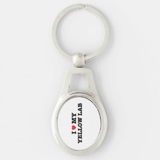 I Heart My Yellow Lab Metal Keychain Silver-Colored Oval Key Ring