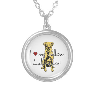 """I """"heart"""" my yellow Labrador with graphic Silver Plated Necklace"""