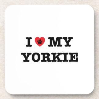 I Heart My Yorkie Plastic Coaster Set