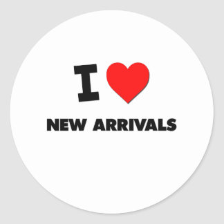 I Heart New Arrivals Round Stickers